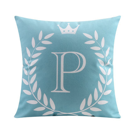 Letter P with crown and circular Border print Pillow
