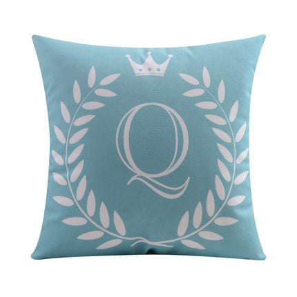 Letter Q with crown and circular Border print Pillow
