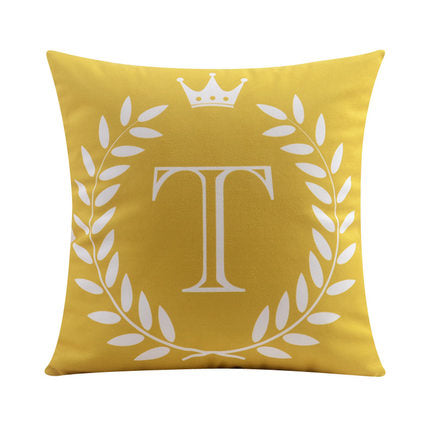 Letter T with crown and circular Border print Pillow