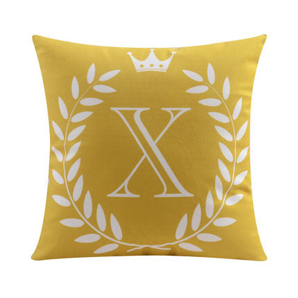 Letter X with crown and circular Border print Pillow