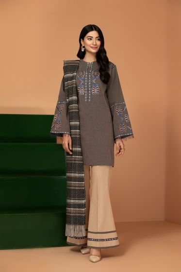 Nishat Winter Collection 42003437-Embroidered Yarn Dyed, Woven Textured Shawl 3PC
