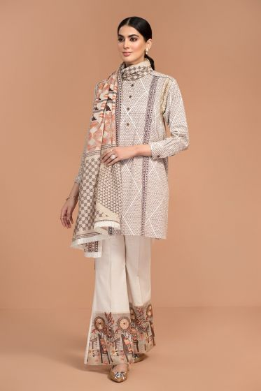 Nishat Linen Winter Collection 42003522-Printed Embroidered Khaddar, Printed Karandi 3PC
