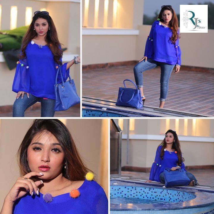 Stylish Cobalt Blue Blue Top with Pom-Poms | Women Tops | Rj's Pret