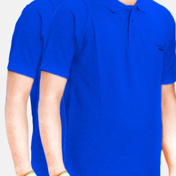 Pack Of 2 ƒ?? Cotton Polo Shirt For Men (Blue)
