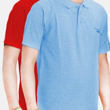 Pack Of 2 ƒ?? Cotton Polo Shirt For Men (Red/Light Blue)