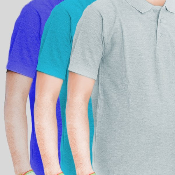 Pack Of 3 ƒ?? Cotton Polo Shirt For Men-(Light Gray/Sea Blue/Blue)