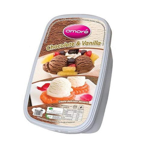 Omore Chocolate & Vanilla Tub Ice Cream 1.4 Ltr