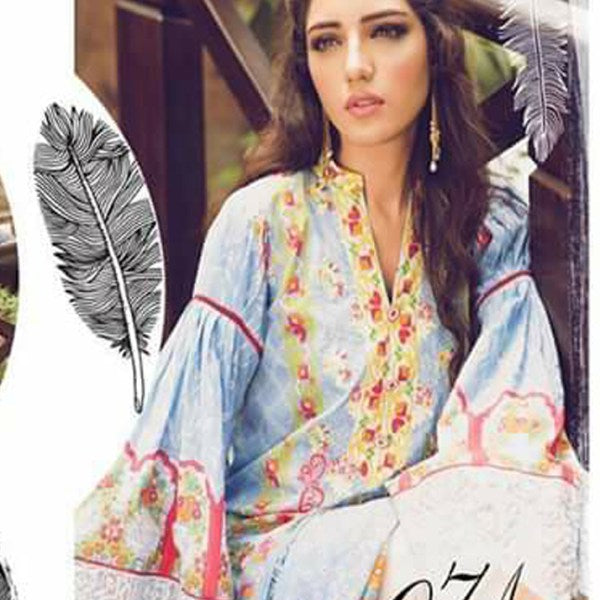 3 Piece V-Neck Embroidered Frill Bell sleeves Lawn Suit