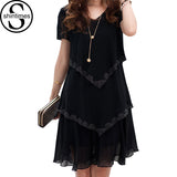 Ruffled Bottom Short Sleeves V neck Chiffon Dress
