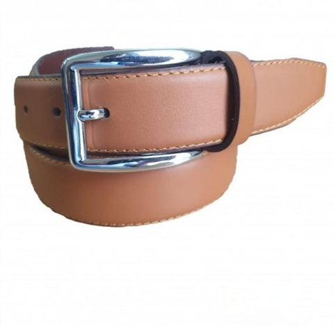 Leather Brown Belt with Silver Shine Buckle