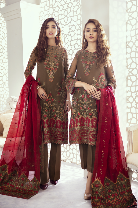 Iznik Imperial Dream Chiffon Collection'2020 ID-08 Garnet Ash (3PC)