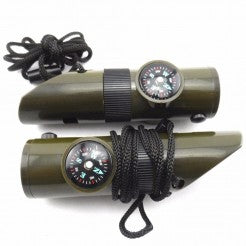 7-in-1 Multifunctional Compass+LED Flashlight+ Magnifier+ Thermometer+ Emergency Survival Whistle