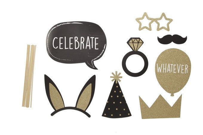 PHOTO BOOTH PROPS IN GOLD & BLACK