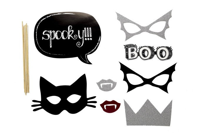 PHOTO BOOTH PROPS, SILVER & BLACK