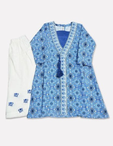 Minnie Minors Digital Printed Kurti With Embroided Shalwar DGKS-047-BLUE-7000000168418