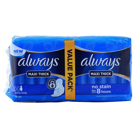 ALWAYS MAXI THICK EXTRA LONG VALUE PACK 16 PADS BLUE PACK
