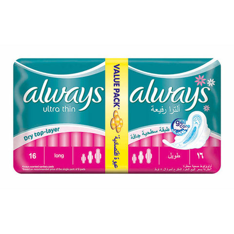 ALWAYS ULTRA THIN LONG VALUE PACK 16 PADS GREEN PACK