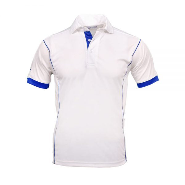 MEN'S MESH TEST CRICKET TEE – WHITE/ROYAL ! Apollo Sports