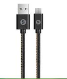Space Tech Micro-USB to USB Cable CE-415, Fabric USB Cable- 100 CM 2.4A-Black