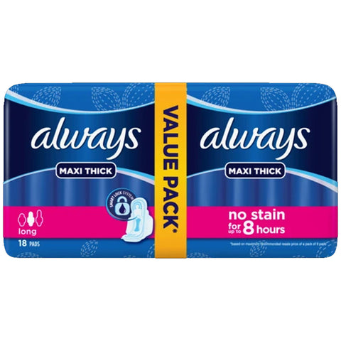 ALWAYS MAXI THICK LONG VALUE PACK 18 PADS