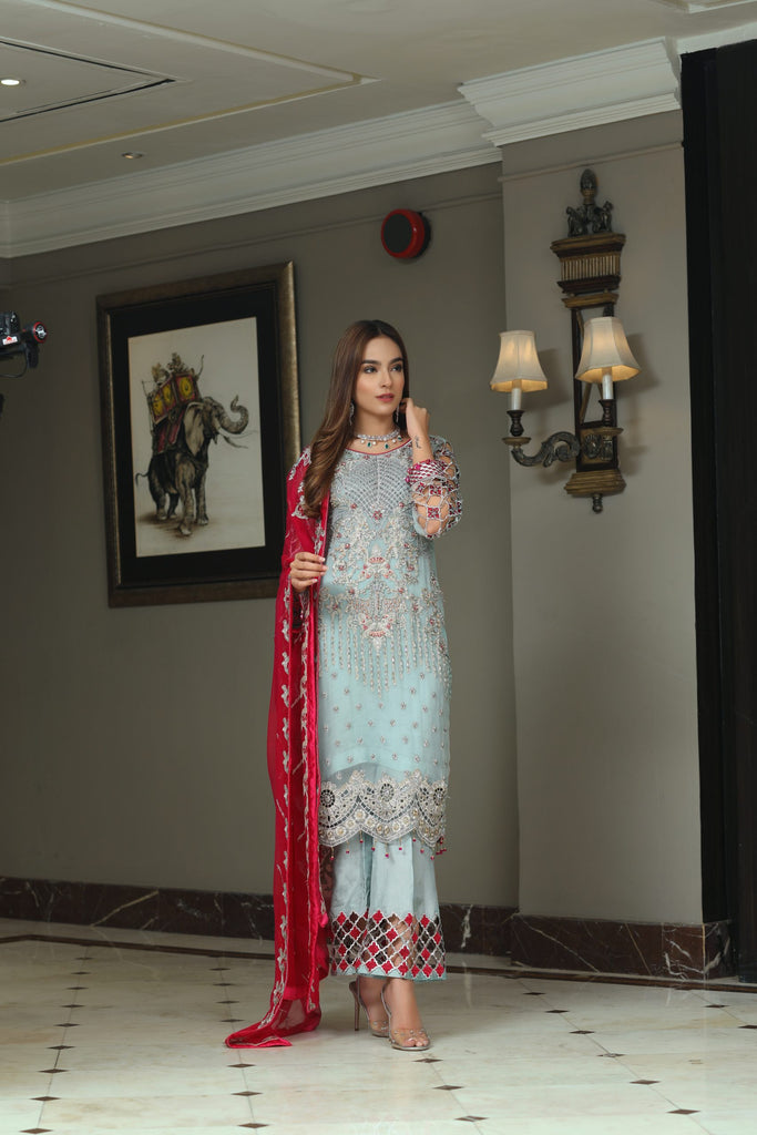 Areesha Chiffon Embroidered VOL - VI Collection'2020 FEATURED AZURE (AR – 01)