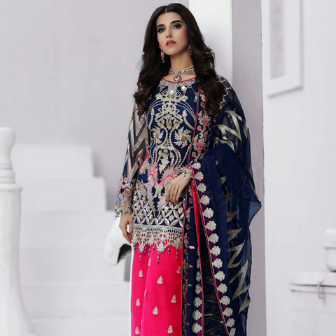 Areesha VOL-VIII Embroidered Chiffon Formal Wear Collection'20 Amaze Blue SKU: 087
