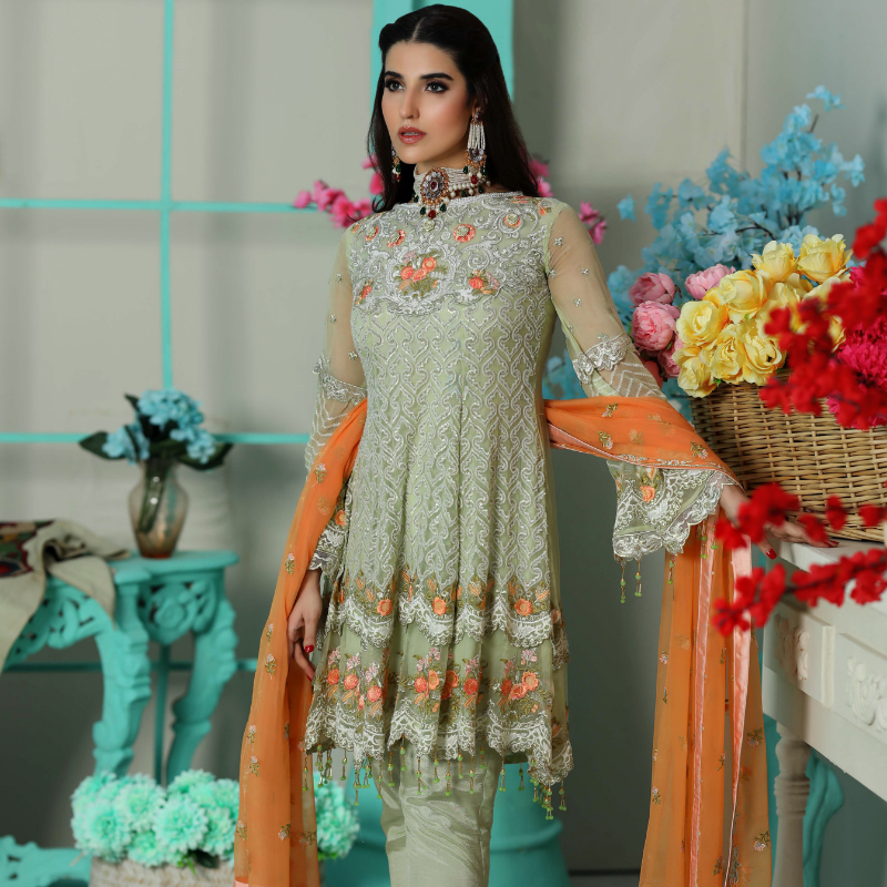Areesha Vol-VIII Embroidered Chiffon Formal Wear Collection'20 Pistacium Apparel SKU: 083