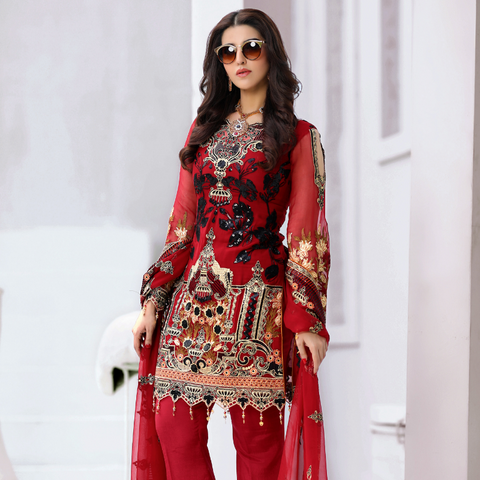 Areesha Vol-VIII Embroidered Chiffon Formal Wear Collection'20 Red Pride SKU: 086