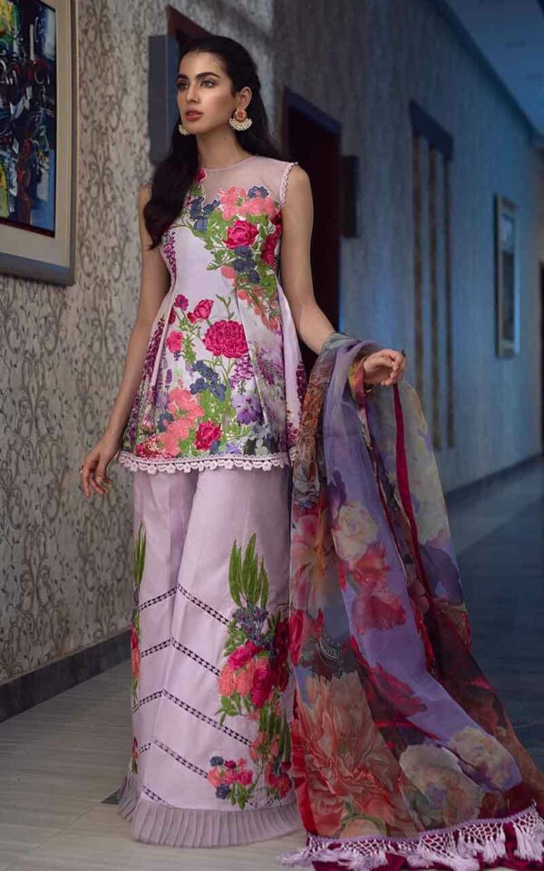 Asifa and Nabeel La'mour Affordable Luxury Lawn Collection'21 1-L Lavender Love