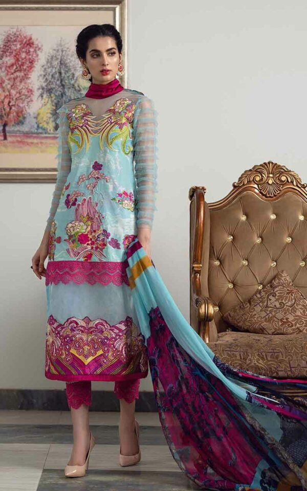 Asifa and Nabeel La'mour Affordable Luxury Lawn Collection'21 9-T Rainbow Bouquet