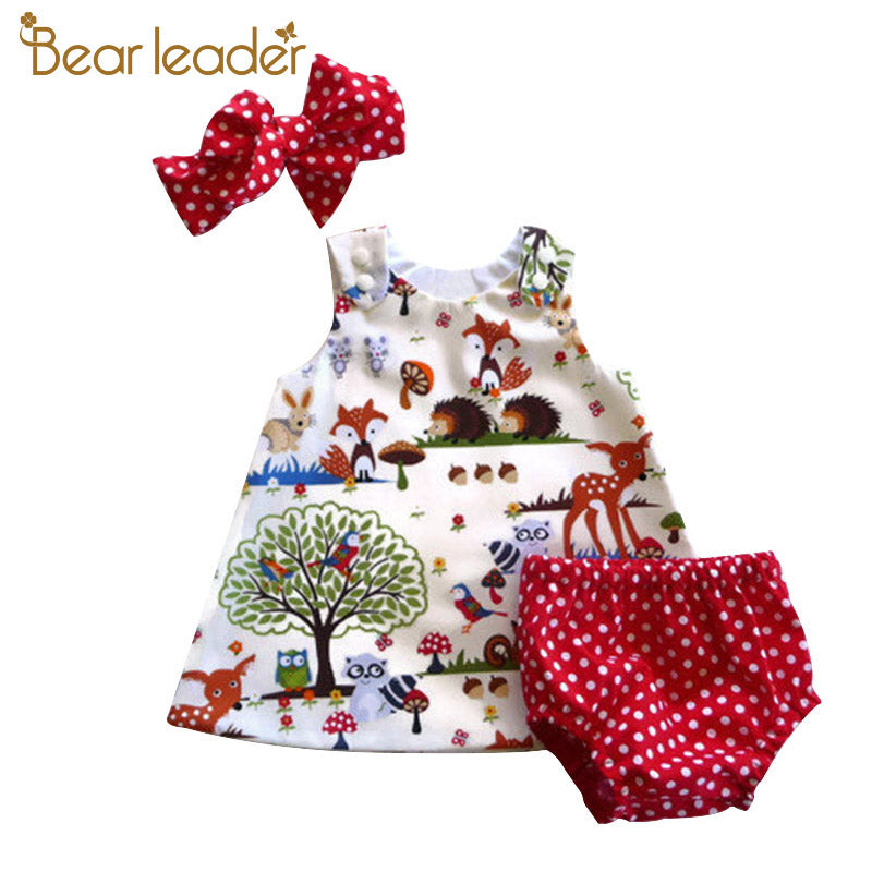 Baby Girls Clothing Sets 2018 New Brand Three Piece Sets Short Pants+Hair Band+Dress Printing Patten For Baby 6-24M
