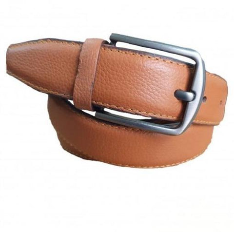 Brown Leather Belt with Silver Buckle