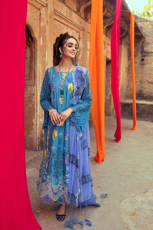 Charizma Signature Embroidered Lawn Collection'21 Blue Casa ELS-05