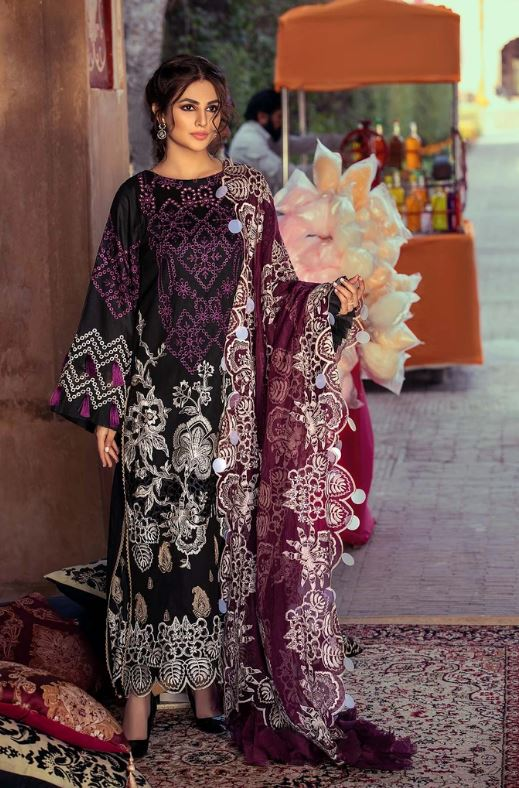 Charizma Signature Embroidered Lawn Collection'21 Wisdom Pearle-Ple ELS-08