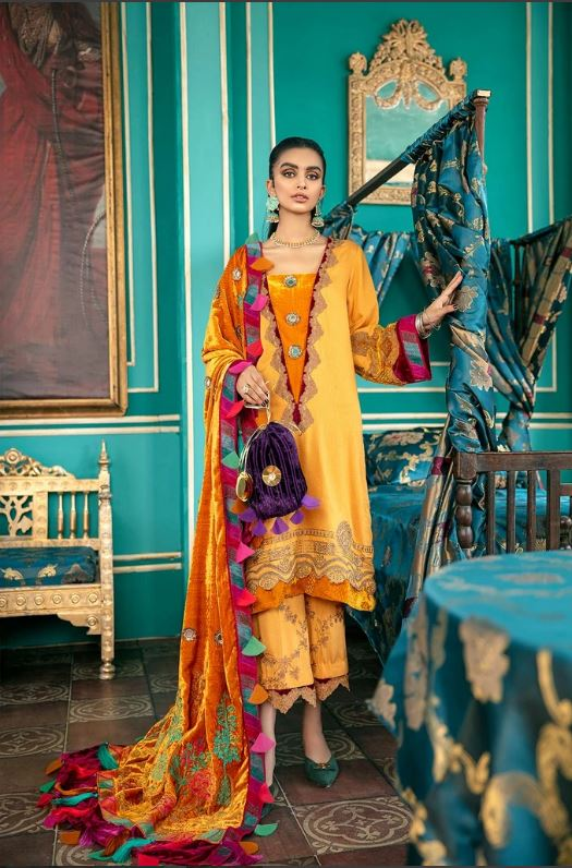 Charizma A Sweet Symphony Masori Suit with Embellished Velvet Shawl Collection'20