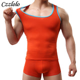 Men's Undershirt Solid Cotton Summer O-Neck Undershirts Breathable tight fitting sleeveless Vest