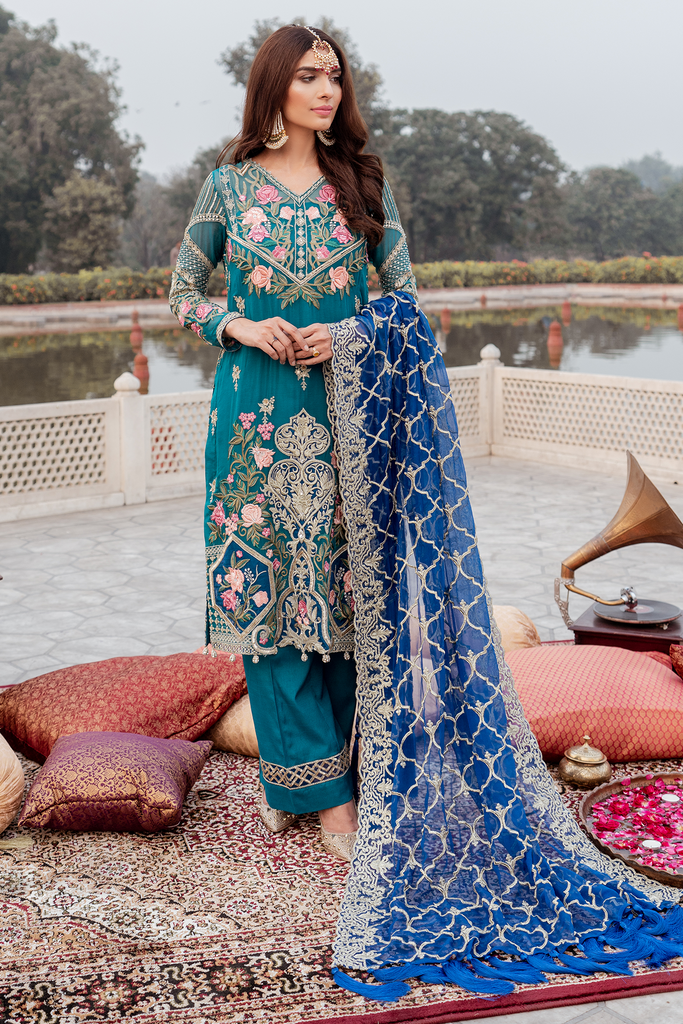 Imrozia Premium Embroidery Ibtada-e-Musarat Collection'19 Whimsical Sapphire 05