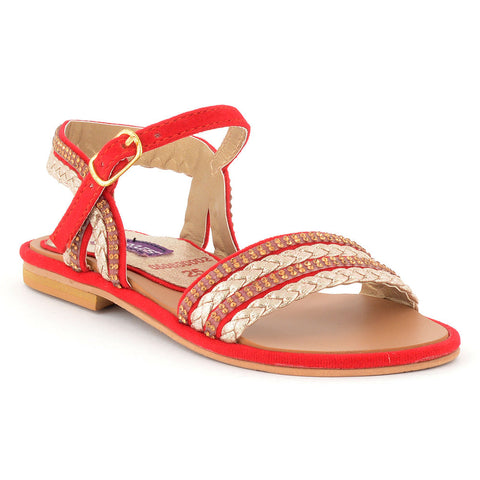 ECS Summer-2018 Red Golden Sandal For Kids