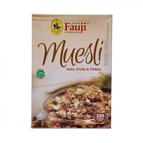 FAUJI MUESLI NUTS.FRUITS & FLAKES 250 GMS