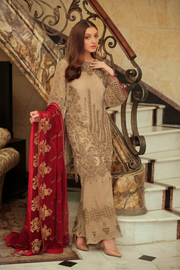 Areesha Embroidered Chiffon Vol-5 Collection'19 BIEGE FLORAT (001)