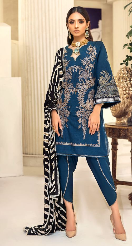 Sana Safinaz Muzlin Winter Collection'20 Codes: 14A (3 Piece)