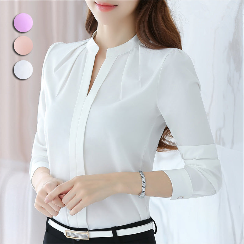 Women Long Sleeve Chiffon V-Neck Office Shirt