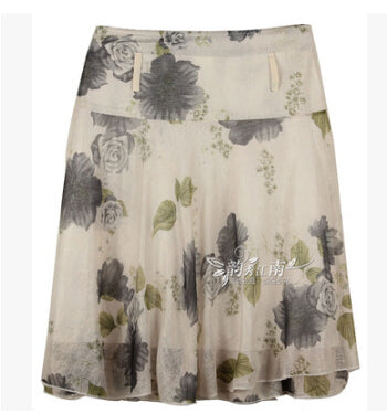 Floral ruffled casual knee length skirt