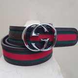 Gucci silver buckle with multicolor belt