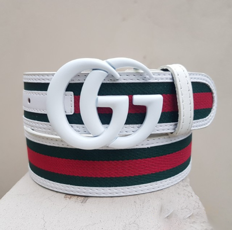 Gucci white buckle with multicolor belt
