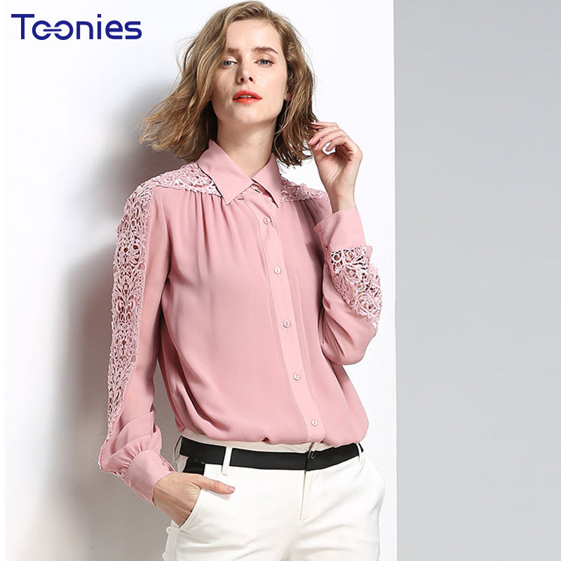 Long Sleeves Chiffon Blouse with Embroidered  Lace