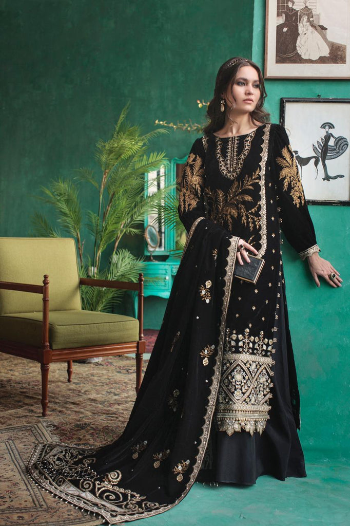 Rouche Velvet Meenakari Unstitched Collection'21 Velvet Black