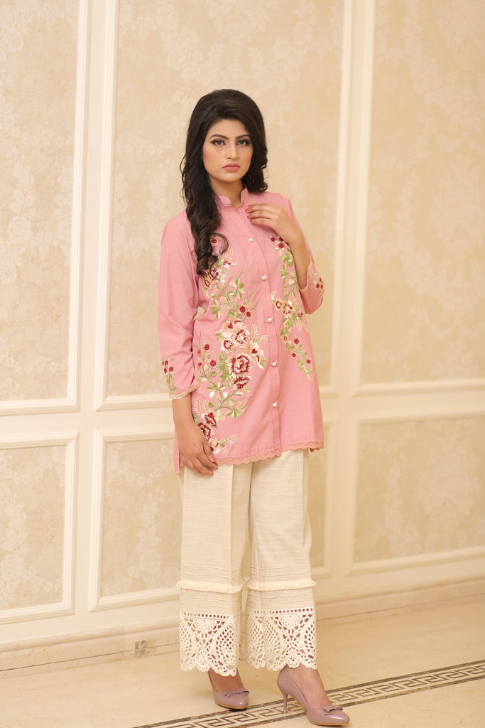Cranberry Pink Embroidered Shirt | Rj's Pret