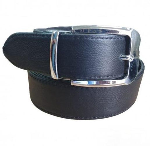 Leather Black Belt with Silver Shine Buckle
