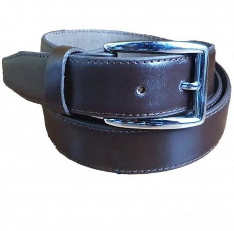 Brown Leather Belt with Silver Buckle shine